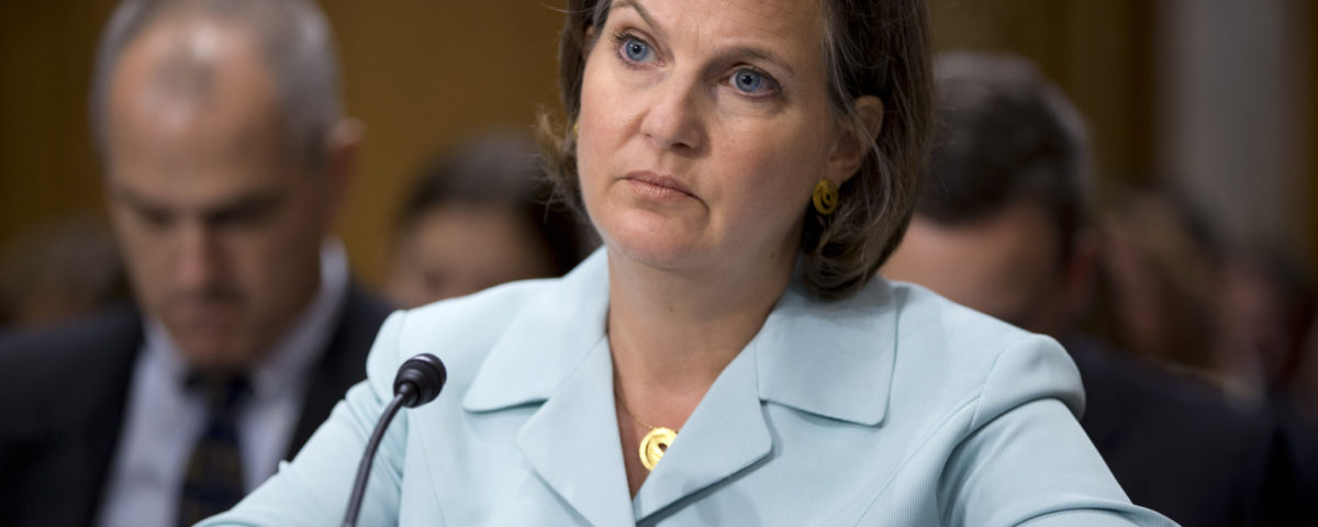 Victoria Nuland, President Barack Obama's nominee to be Assistant Secretary of State for European and Eurasian Affairs, testifies on Capitol Hill in Washington, Thursday, July 11, 2013, before the Senate Foreign Relations Committee hearing on her nomination. Nuland told panel how she would prioritize trade and democracy. But that may not be what some Republicans want to hear. (AP Photo/J. Scott Applewhite)